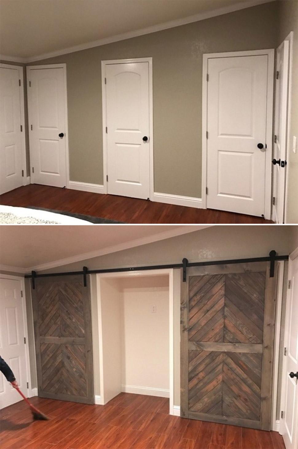 Раздвижные двери в гардеробную комнату своими руками 73